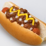 Chili Dog with Mustard and Onions