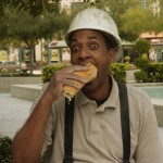 Construction worker eating a Sobik's Sub
