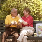 Grandparents eating Central Park together