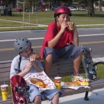 Skaters eating Sobik's Subs